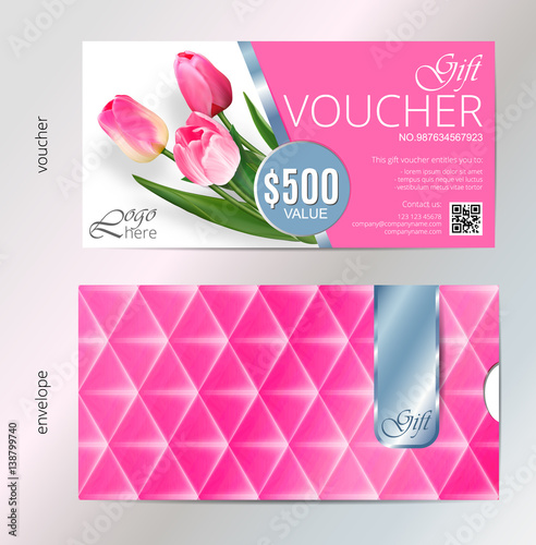 Gift voucher template with pink tulip flowers  Vector