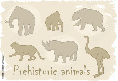 Prehistoric animals  Vector ancient glaciation mammal