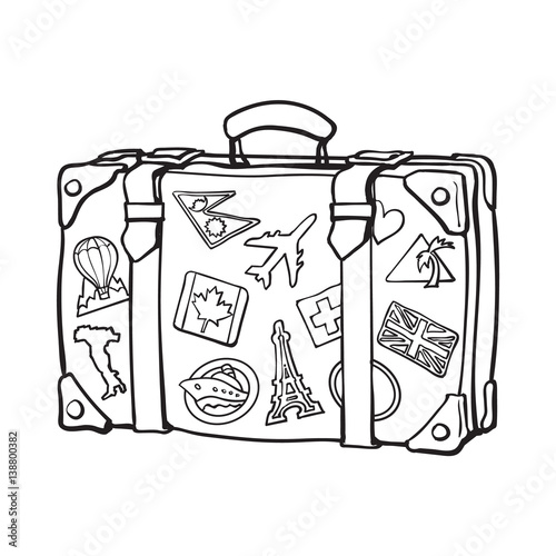 Hand drawn retro style travel suitcase with labels, black