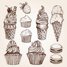 Hand Drawn Ice Creams And Desserts