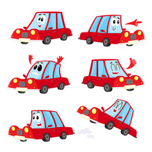 Set Of Cute And Funny Red Car, Auto Character With Different Emotions, Cartoon Vector Illustration Isolated On White Background. Funny Red Car Character, Mascot With Human Face And Various Emotions