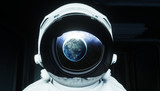 alone astronaut in space. Sci fi futuristic corridor. view of the earth. 3d rendering. - 138802772
