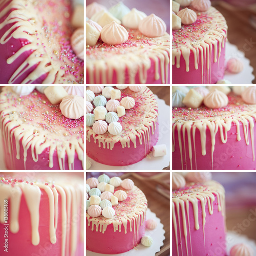 Collage of nine images with pink birthday cake closeup Canvas Print