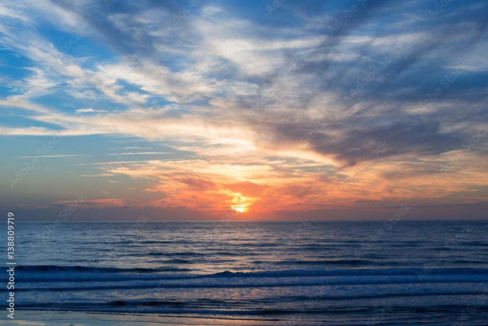 Foto-Schiebegardine Komplettsystem - Atlantic ocean sunset, Lacanau France