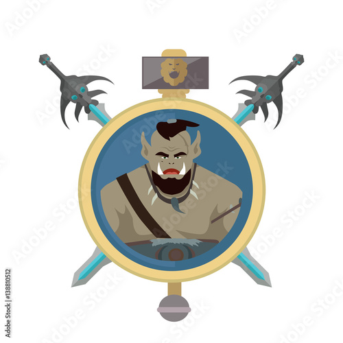 Coat of Arms Shield with Swords Illustration. Canvas Print