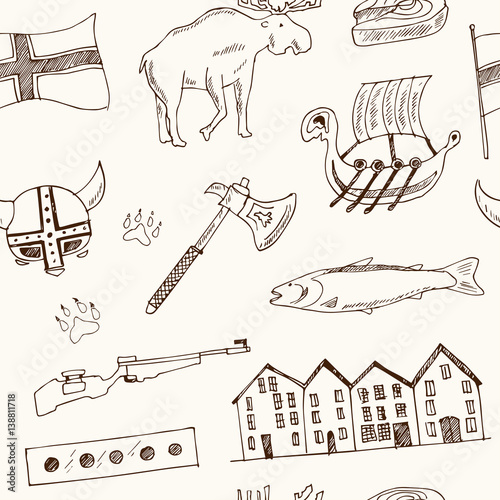 Photo  Country Norway travel vacation seamless pattern with architecture, culture doodl