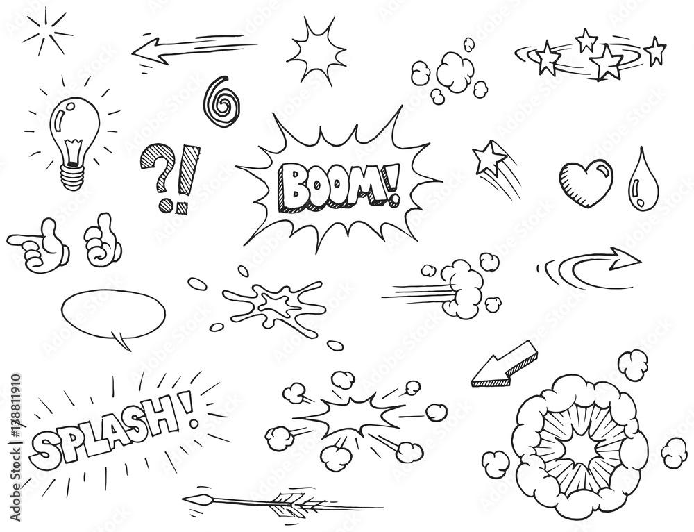 Ręcznie rysowane elementy komiksowe