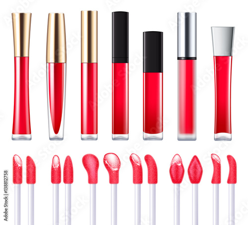 Valokuvatapetti Red lip gloss set.