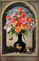 Obraz na Plexi Florystyczny Still life, vase flowers bouquet floral , fresh beautiful nature