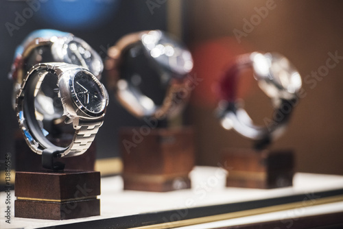 Men watches in a showcase of a luxury store in London.