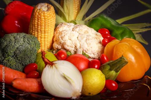 Keuken foto achterwand Waterverf Illustraties Colorful vegetables on a black background