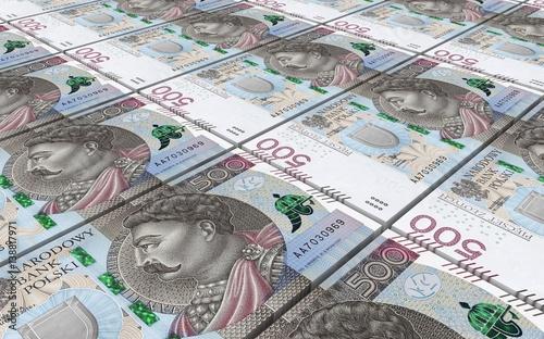 Fotomural  Polish zloty bills stacked background. 3D illustration.