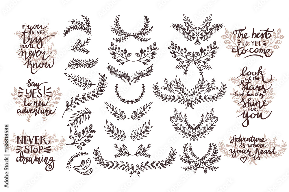 Fototapety, obrazy: Vector set of design elements. Thematic phrases. Hand drawing.