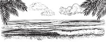 Panoramic Beach View. Vector Illustration Of Ocean Or Sea Waves. Hand Drawn.