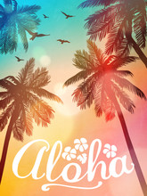 Summer Beach Illustration Aloha. Inspiration Card For Wedding, Date, Birthday, Tropical Party Invitation