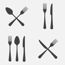 Spoon, Fork And Knife Icon Set...