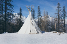 Teepee In The Snow Vintage