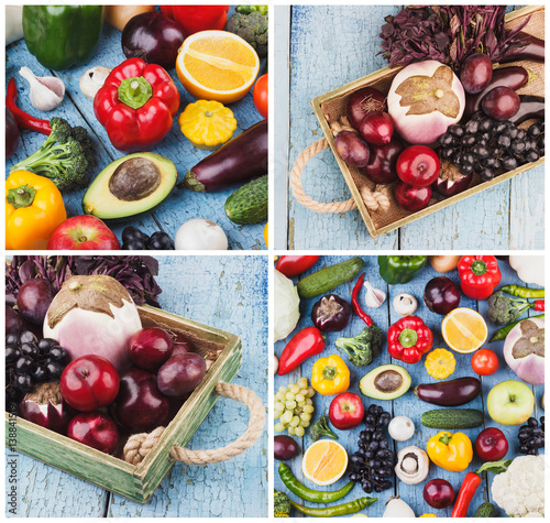 Foto  Collage from different colorful vegetables and fruits on the wooden background