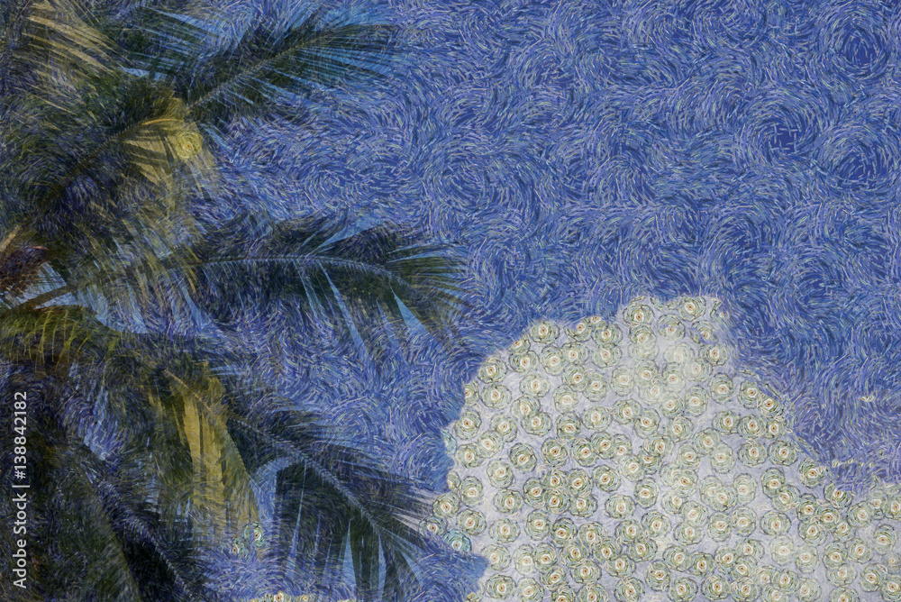 Top of coconut palm against a sky with fluffy white clouds in the style of van gogh