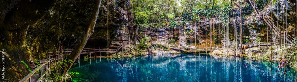 Fototapeta Panorama of the blue X'Canche Cenote close to Ek Balam near Valladolid, Yucatan peninsula, Mexico.