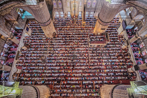 Hundreds of muslims during the prayer.
