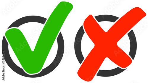Valokuva  Auswahl Feld mit grünem Haken und rotem Kreuz