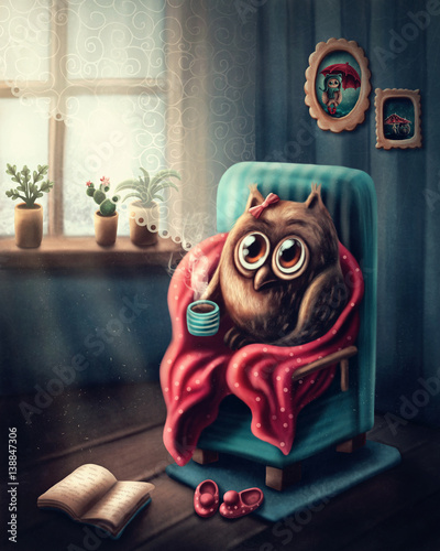 Canvas Prints Owls cartoon Little owl drinking coffee