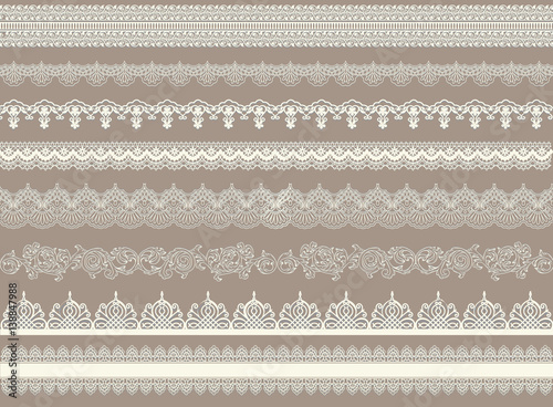 Vászonkép Beautiful lace ribbons set