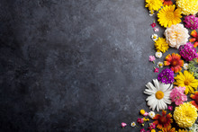 Garden Flowers Over Stone Table Background