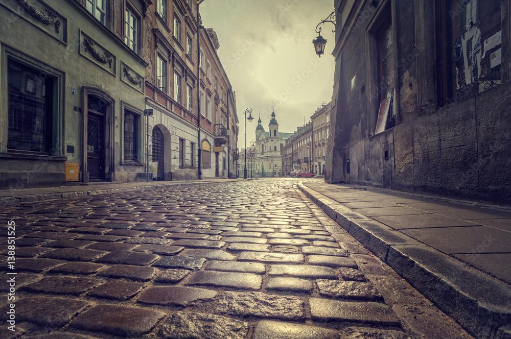 Fototapeta Cobbled street of the old town