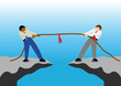 Simple business cartoon vector competition between 2 workers