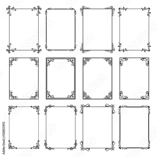 Decorative Vintage Frames Vector Black Borders Isolated On White Background Frame Templates For Cards