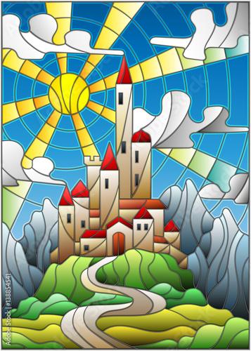 ilustracja-w-krajobraz-stylu-witrazu-ze-starego-zamku-na-tle-nieba-slonca-i-gor