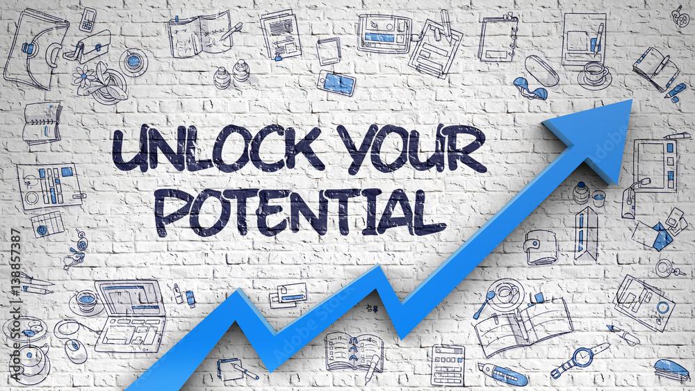 Fototapeta Unlock Your Potential Drawn on Brick Wall.