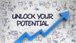 Leinwandbild Motiv Unlock Your Potential Drawn on Brick Wall.