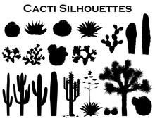 Black Silhouettes Of Cactuses, Agave, Joshua Tree, And Prickly Pear. Vector Illustration