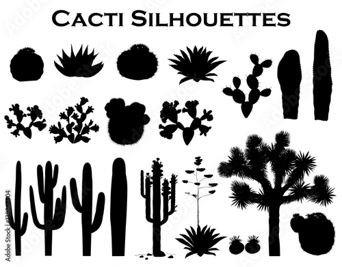 Obraz na plátne Black silhouettes of cactuses, agave, joshua tree, and prickly pear