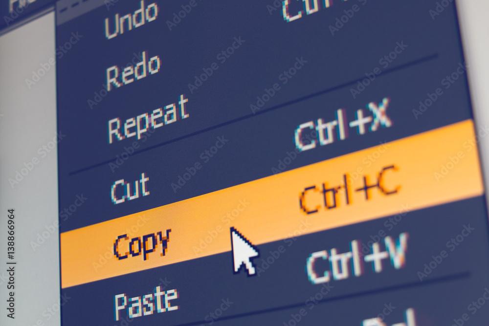 Fototapety, obrazy: Software menu item with copy command