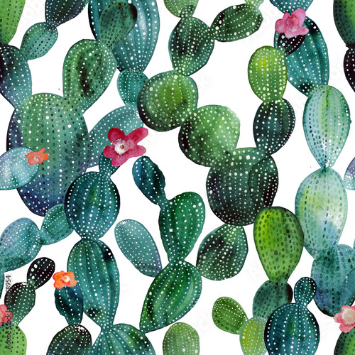 Poster Aquarel Natuur Watercolor cactus tropical garden seamless pattern.