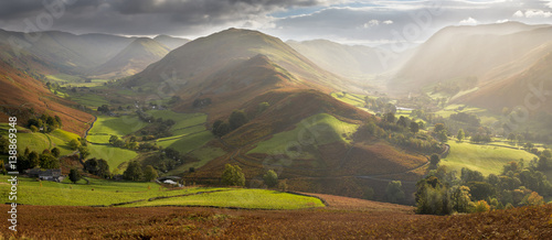 Fotografie, Obraz Amazing light in Martindale Valley, Lake District.