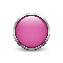 Pink Button With Metal Frame And Shadow