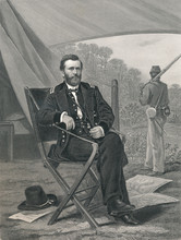 Ulysses S. Grant -  18th President Of The United States. Steel Engraving 1864.