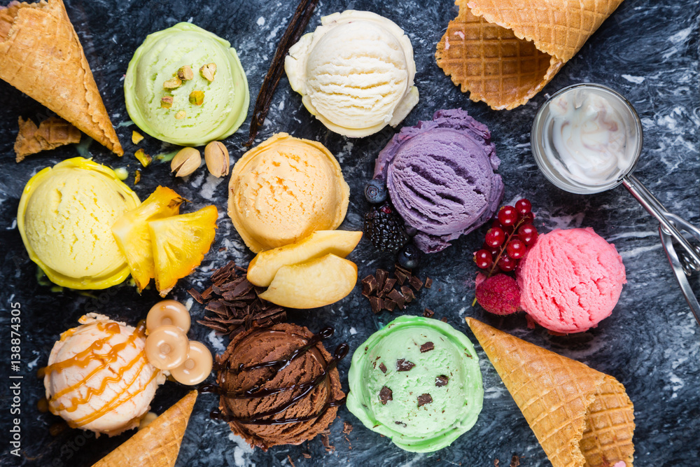 Fototapety, obrazy: Selection of colorful ice cream scoops on marble background