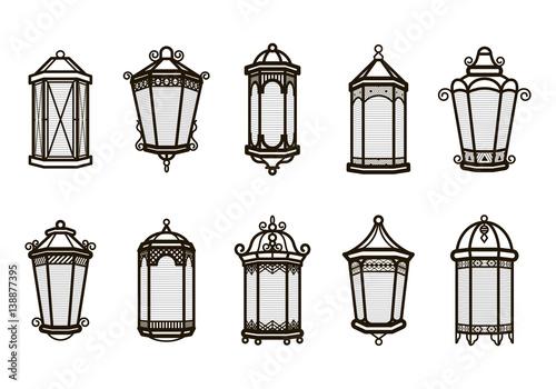 Vector vintage lantern set isolated on white Wallpaper Mural