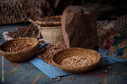 Seeds of moroccan argan tree on a market Wallpaper Mural