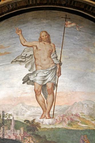 Cristo risorto; affresco di G Canvas Print