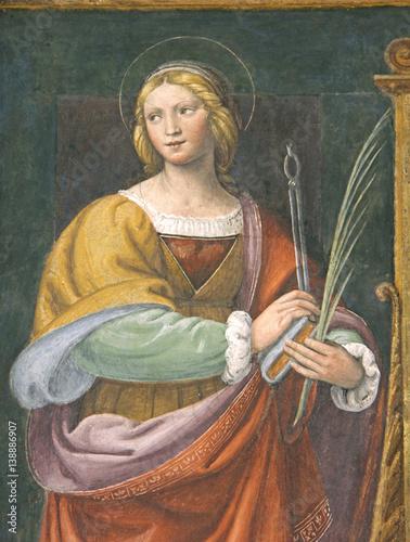 Santa Apollonia; affresco, Chiesa di San Maurizio, Milano Poster