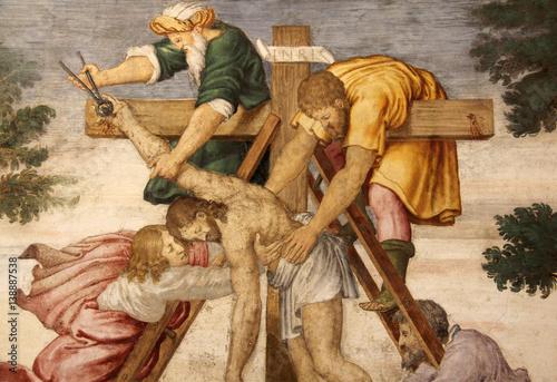 Cristo deposto dalla croce (particolare); affresco, Chiesa di San Maurizio, Mila Canvas Print