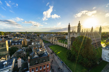Panoramic View Of Cambridge With Sun Flare At Sunset, UK