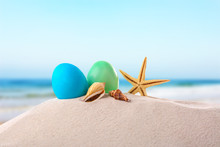 Easter Eggs With Sand, On Whit...